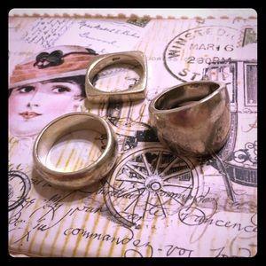 Lot of 3 genuine sterling silver rings